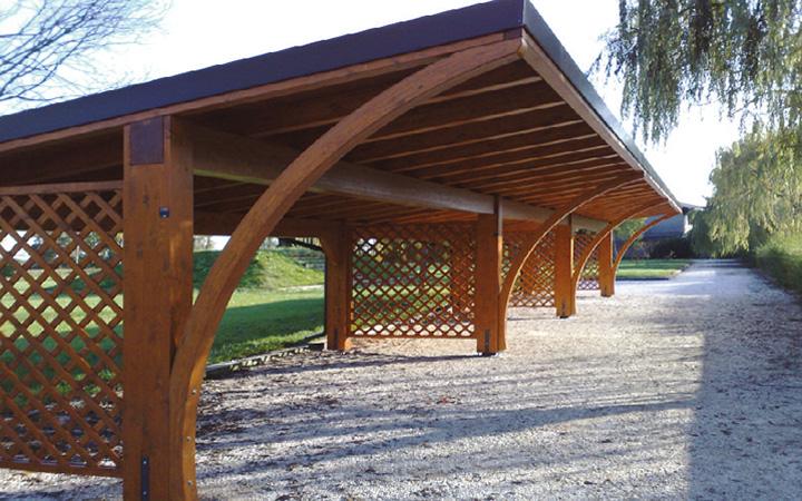 Travatura in abete lamellare copertura con tavolato abete - Coperture per tettoie esterne ...